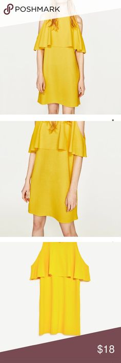 Shop Women's Zara Yellow size M Mini at a discounted price at Poshmark. Plus Fashion, Fashion Tips, Fashion Design, Fashion Trends, Zara Dresses, Yellow Dress, Cold Shoulder Dress, My Favorite Things, Outfits