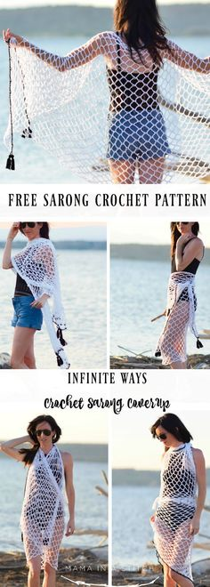 """Crochet Cover-Up Pattern """"Infinite Ways"""" Sarong via Mama In A Stitch Knit and Crochet Patterns - Jessica Poncho Au Crochet, Pull Crochet, Crochet Cover Up, Crochet Scarves, Crochet Clothes, Crochet Lace, Crochet Summer, Crochet Skirts, Bikini Crochet"""