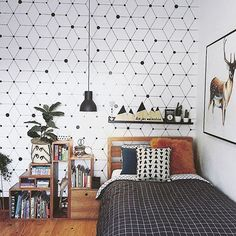 Check out the feature wall in Nate's room. @alisa_lysandra [who you'd know from @theblock9] in collaboration with @grafico_wallcoverings have created a stunning range of wallpapers. Yum. And featured here with my custom size 'live for adventure' timber mountain plaque and arrow. What a room! Pic & room styling: @alisa_lysandra #zilvi #interiors #kidsdecor #kidsinteriors #adventure #wallpaper #theblock