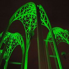 Seattle's Pacific Science Center all lit up for the sounders game!