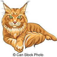 Vector Illustration of Vector color sketch fluffy Maine Coon cat - Vector color... csp14644221 - Search Clipart, Illustration, Drawings, and EPS Clip Art Graphics Images