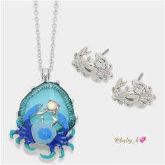 "Blue Crab Pendant Necklace & Earrings Set NWT - Rhodium with different shade of blue crab enamel accented with clear crystal pendant with 18"" + 3"" long chain comes with matching rhodium stud Earrings 0.75"" x 0.75"" Boutique Jewelry Necklaces"