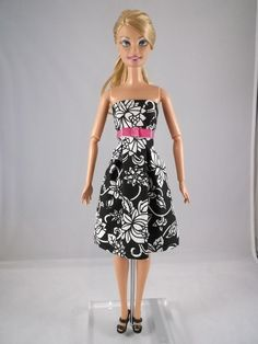 Barbie Clothes Black and white Barbie Basic Dress