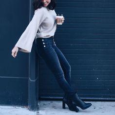 High-waisted jeans, fall sweaters, fashion, velvetsedge.com