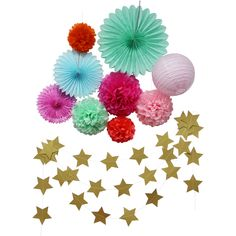 Aliexpress.com : Buy 10pcs Wedding Decorations Set Tissue Paper Pom Poms/Paper Lanterns/Fans Hanging Gold Stars Garlands Bridal Baby Shower Supplies from Reliable shower install suppliers on Meichen Paper&Plastic Products Company