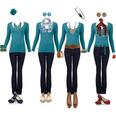 Same tee and jeans with totally different accessories for 4 gorgeous looks!