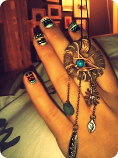 tribal print nails and dreamcatchers we madeee