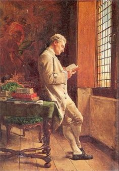 """books0977: """" The Reader, in White (1857). Jean-Louis Ernest Meissonier (French, 1815-1891). Oil on canvas. Standing by a window for light, a gentleman reads, his back turned to a table with a green..."""