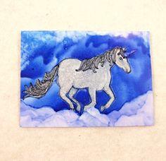 ACEO ATC Unicorn Fantasy Mixed Media by PaperChainsandBeads
