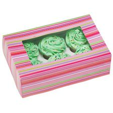 Cupcake boxes with pink stripey design, these boxes are great for displaying and presenting your baked cakes for gifts or party favours.  The pack contains 2 boxes and each box can  hold 6 standard sized cupcakes/muffins.  Box size - 24cm x 16.5cm x 7.5cm  Insert hole dimension - 6.25cm  Sorry cupcakes not included!