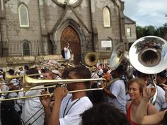 New Orleans Church, the Second LIne passing by----