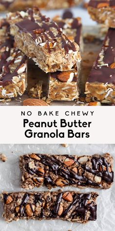 Homemade healthy no bake peanut butter granola bars will be your new favorite snack. These chewy granola bars are packed with wholesome ingredients like peanut butter honey chia seeds flax almonds and drizzled with dark chocolate. Granola Bars Peanut Butter, Healthy Granola Bars, Chewy Granola Bars, Peanut Butter Toast Ideas, Healthy Cereal Bars, Dairy Free Granola Bars, Paleo Peanut Butter, Vegan Granola Bars, Paleo Bars