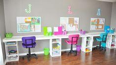 Ideas For Study Room Organization Homework Station Cork Boards Homework Box, Kids Homework Station, Kids Homework Room, Kids Office, Kid Desk, Kids Desk Space, Desk For Kids, Kids Art Table, Desk Areas