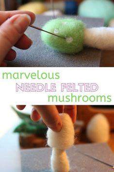 Needle Felting Tutorials, Needle Felting Kits, Needle Felted, Felt Templates, Applique Templates, Applique Patterns, Card Templates, Mushroom Crafts, Felt Mushroom