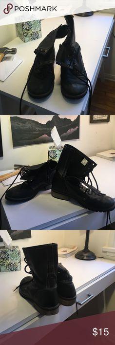Skechers black lace up boots Looks like black dock martin Skechers Shoes Combat & Moto Boots
