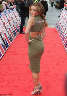 Amanda Holden booty in a green dress on UK America's Got Talent red carpet