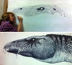 This enormous pen drawing of a Baryonyx dinosaur measures 1.2 x 2.1 metres, and took over 70 hours to complete. It was the dramatic conclusion to a Year 11 high school Art project.: