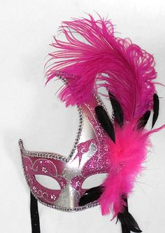 HOT PINK MARDI GRAS VENETIAN  Mask Costume  MASQUERADE