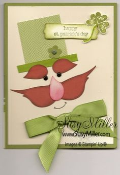 By susy miller #stpatrick's day Leprachaun #punch art using the Bird punch from SU for stamping cards visit me at My Personal blog: http://stampingwithbibiana.blogspot.com/