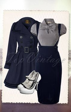 Tatyana All Aboard Blouse Navy White - Rockabilly Style Hair Rockabilly Looks, Rockabilly Outfits, Rockabilly Fashion, Rockabilly Girls, Retro Outfits 1950s, Retro Vintage Dresses, Pin Up Outfits, Pretty Outfits, Cute Outfits