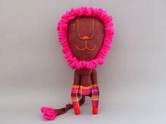 Neon pink LION!   JIPI JIPI via Etsy