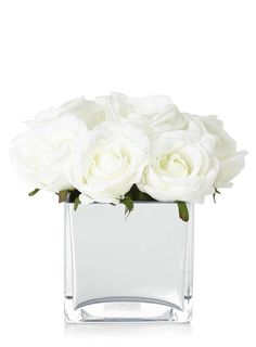 Rose Bouquet In Mirrored Cube Vase, White