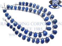Lapis Lazuli Faceted Pear (Quality A) Shape: Pear Faceted Length: 18 cm Weight Approx: 4 to 6 Grms. Size Approx: 5x7 to 7.5x10 mm Price $7.20 Each Strand