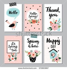 Spring card collection , hand drawn elements with quotes, calligraphy, flowers, wreath, bird. Perfect for greeting cards, sale badges, scrapbook, poster, cover, tag, invitation. Vector illustration.