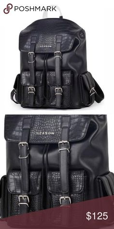 | new | REASON CLOTHING Bridgeton Backpack 🔷BUNDLE & SAVE 30%🔷 Vegan leather rucksack backpack, features faux crocodile skin, 2 outside front pockets, 2 side pockets, 1 large inside compartment, custom metal hardware & Reason molded logo.  | PICTURES OF ACTUAL ITEM WILL BE ADDAED AS WELL AS MEASUREMENTS | Reason Clothing Bags Backpacks
