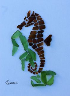 Seahorse & Plant Beach Glass Art Sea Glass Authentic Narragansett Rhode Island
