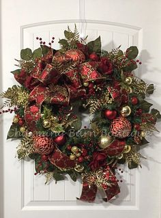 Christmas Wreath, Winter Wreath, Elegant Christmas, Holiday Wreath, Evergreen Wreath, Red and Gold Wreath, Holiday Decor, Christmas Decor by CharmingBarnBoutique on Etsy