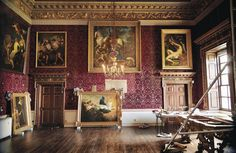 Once the paintings in Houghton Hall's Saloon have all been rehung in their original places, the room's William Kent-designed 18th-century set of furniture, upholstered in the same cut-wool velvet as the walls, will be returned as well.