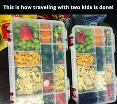 Use a tackle box to keep your kid's snacks organized on a road trip. | 15 Mess-Free Parenting Hacks That You'll Be Forever Grateful For