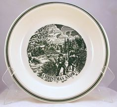 """Vintage Currier and Ives Christmas Snow 10"""" pie baker ivory green -"""