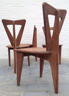 Robert Guillerme and Jacques Chambron; Oak Side Chairs, 1953.