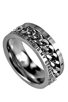 Chain Ring His Strength Philippians 4:13. I can do all things through Christ who,is my strength.