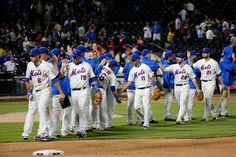 CrowdCam Hot Shot: New York Mets celebrate the win against the Miami Marlins at Citi Field. Mets won 4-3. Photo by Anthony Gruppuso