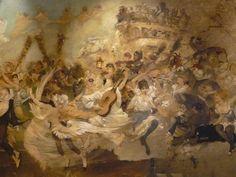 WILLETTE Adolphe,1884 - Parce Domine - Detail 029 : Français : Une foule en fête et un attelage à impériale.  English: - a festive crowd and a double-deck carriage. - Montmartre -