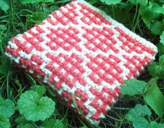 checker square garter stitch knit dishcloth