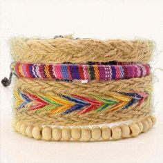 4 Pcs Fashion Vintage Feather Leather Bracelet For Unisex Jewelry Bracelet Set, Women Jewelry, Men's Jewelry, Feather, Vintage Fashion, Beaded Bracelets, Beads, Type, Accessories