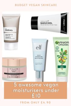 Vegan skincare doesn't need to be expensive in order to be effective. Here are 5 vegan moisturisers that cost less than £10 and are packed with awesome skincare ingredients!