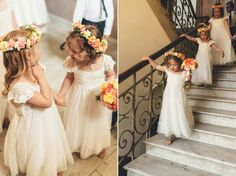 Flower girls wear white dresses and colourful floral crowns | Photography by http://www.modernvintageweddings.com/