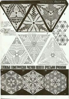 Crocheted motif no. Crochet Triangle Pattern, Crochet Motif Patterns, Crochet Blocks, Crochet Diagram, Crochet Chart, Crochet Squares, Thread Crochet, Crochet Granny, Filet Crochet