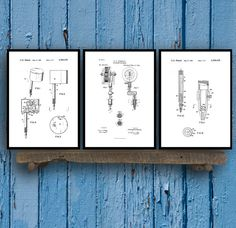 Tattoo Patent Prints - Set of 3 - Tattoo Patent, Tattoo Poster, Tattoo gun Blueprint, Tattoo machine Print, Tattoo Art, tattoo Decor, sp37 by STANLEYprintHOUSE  7.50 USD  All of the posters are printed using high quality archival inks, and will be of museum quality. Any of these posters will make a great affordable gift, or tie any room together.  Please choose between different sizes and colors.  These posters are shipped in mailing tubes via USPS Fi ..  https://www.etsy.com/ca/li..