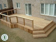 I'd prefer a raised deck, but this is nice if that's not an op… Simple, low deck. I'd prefer a raised deck,. Patio Deck Designs, Patio Design, Small Deck Designs, Railing Design, Backyard Playground, Backyard Patio, Patio Decks, Gravel Patio, Raised Deck