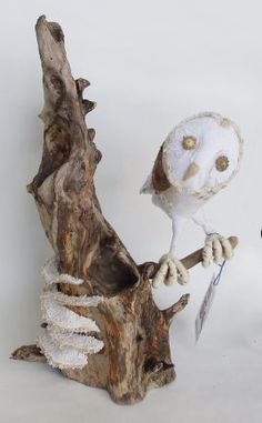 Fabric Owl & Bracket Fungi on Driftwood 09 by JayBird Art