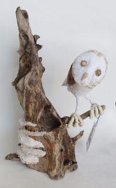 Fabric Owl & Bracket Fungi on Driftwood 09 by JayBird Art