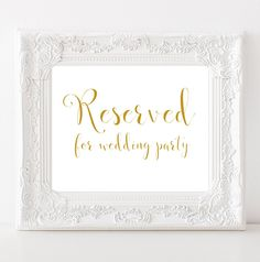Reserved for wedding party poster Ceremony sign INSTANT DOWNLOAD Wedding signage…