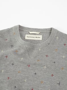 Universal Works Crew Sweatshirt in Grey Marl Embroidered Loopback