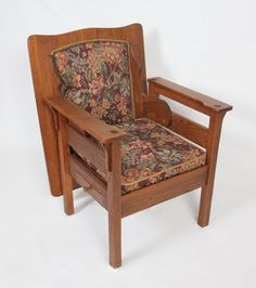 121 Arts Crafts Oak Chair Converts To Table Lot